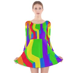 Rainbow abstraction Long Sleeve Velvet Skater Dress