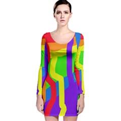 Rainbow abstraction Long Sleeve Velvet Bodycon Dress