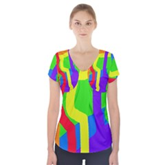 Rainbow abstraction Short Sleeve Front Detail Top