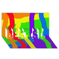 Rainbow abstraction BEST SIS 3D Greeting Card (8x4)