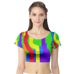 Rainbow abstraction Short Sleeve Crop Top (Tight Fit)