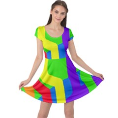 Rainbow abstraction Cap Sleeve Dresses