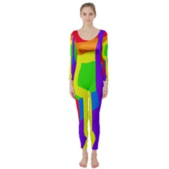 Rainbow abstraction Long Sleeve Catsuit