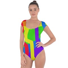 Rainbow abstraction Short Sleeve Leotard