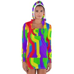 Rainbow Abstraction Women s Long Sleeve Hooded T Shirt