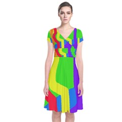 Rainbow abstraction Short Sleeve Front Wrap Dress