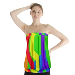 Rainbow Abstraction Strapless Top