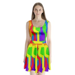 Rainbow abstraction Split Back Mini Dress
