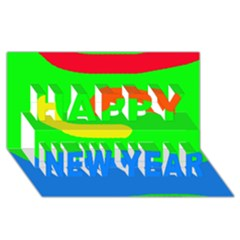 Rainbow abstraction Happy New Year 3D Greeting Card (8x4)
