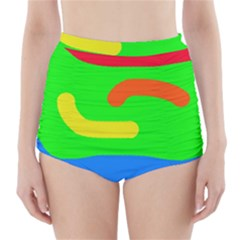 Rainbow Abstraction High Waisted Bikini Bottoms