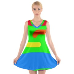 Rainbow abstraction V-Neck Sleeveless Skater Dress