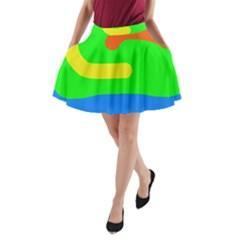 Rainbow Abstraction A Line Pocket Skirt