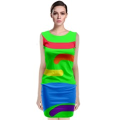 Rainbow abstraction Classic Sleeveless Midi Dress