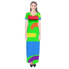 Rainbow abstraction Short Sleeve Maxi Dress