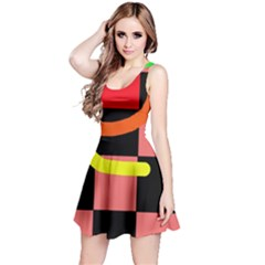 Multicolor abstraction Reversible Sleeveless Dress