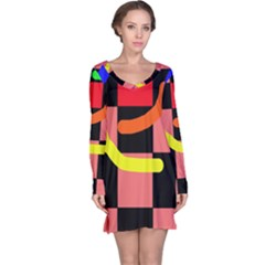 Multicolor abstraction Long Sleeve Nightdress
