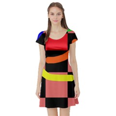 Multicolor abstraction Short Sleeve Skater Dress