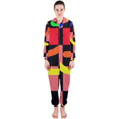 Multicolor abstraction Hooded Jumpsuit (Ladies)