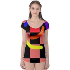 Multicolor abstraction Boyleg Leotard