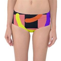 Multicolor abstraction Mid-Waist Bikini Bottoms