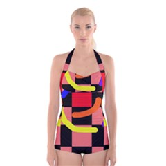Multicolor Abstraction Boyleg Halter Swimsuit