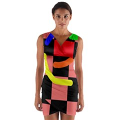 Multicolor Abstraction Wrap Front Bodycon Dress