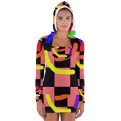 Multicolor abstraction Women s Long Sleeve Hooded T-shirt