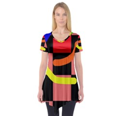 Multicolor Abstraction Short Sleeve Tunic
