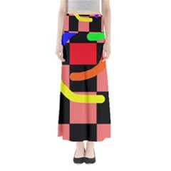 Multicolor abstraction Maxi Skirts