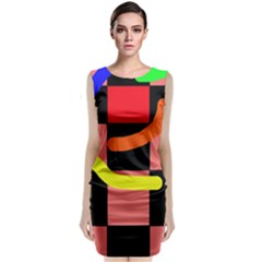 Multicolor Abstraction Classic Sleeveless Midi Dress