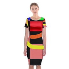 Multicolor Abstraction Classic Short Sleeve Midi Dress