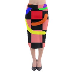 Multicolor Abstraction Midi Pencil Skirt
