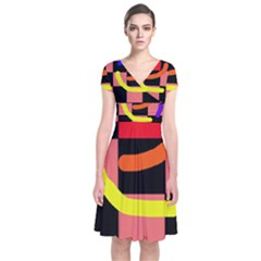 Multicolor Abstraction Short Sleeve Front Wrap Dress