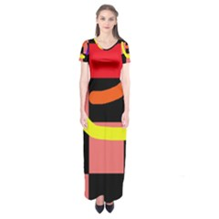 Multicolor abstraction Short Sleeve Maxi Dress