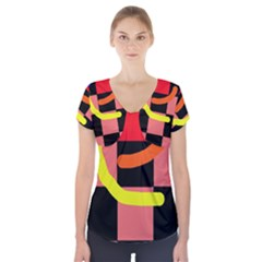 Multicolor abstraction Short Sleeve Front Detail Top