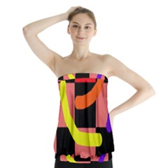 Multicolor abstraction Strapless Top