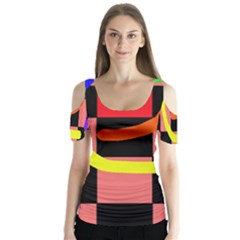 Multicolor abstraction Butterfly Sleeve Cutout Tee