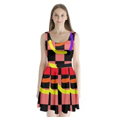 Multicolor abstraction Split Back Mini Dress