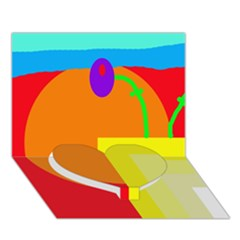 Colorful abstraction Heart Bottom 3D Greeting Card (7x5)