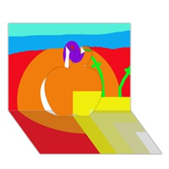 Colorful abstraction Apple 3D Greeting Card (7x5)