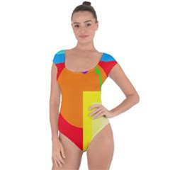 Colorful Abstraction Short Sleeve Leotard