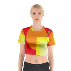 Colorful Abstraction Cotton Crop Top