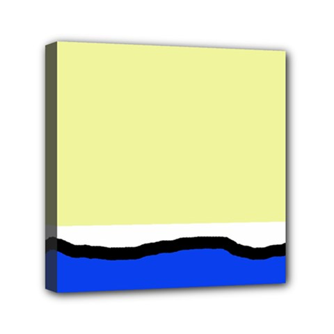 Yellow and blue simple design Mini Canvas 6  x 6