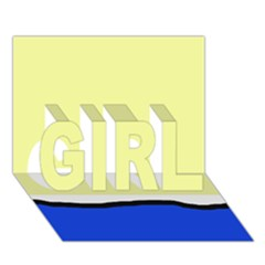 Yellow and blue simple design GIRL 3D Greeting Card (7x5)