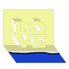 Yellow and blue simple design LOVE 3D Greeting Card (7x5)