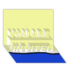 Yellow and blue simple design YOU ARE INVITED 3D Greeting Card (7x5)