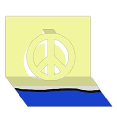 Yellow and blue simple design Peace Sign 3D Greeting Card (7x5)