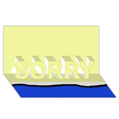 Yellow and blue simple design SORRY 3D Greeting Card (8x4)