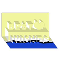Yellow and blue simple design Best Wish 3D Greeting Card (8x4)