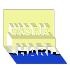 Yellow and blue simple design WORK HARD 3D Greeting Card (7x5)